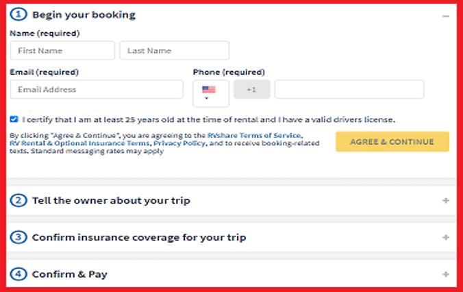 RVshare Booking details